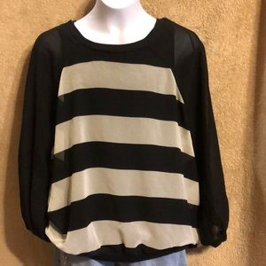 Small black and white striped sheer top